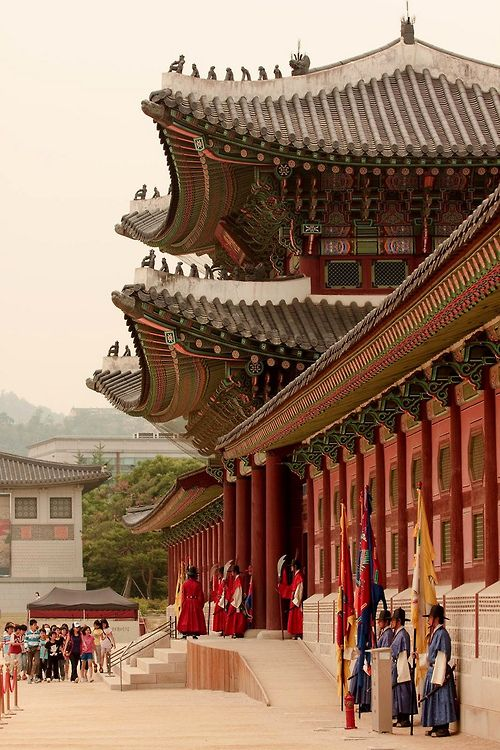 Gyeongbokgung Palace in Seoul, Korea. Shouting match with the guards here with Fillip!