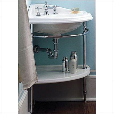 Need Something Like This For Our Tiny Coat Closet Bathroom Corner Sink Pedestal Sink Storage Corner Sink Bathroom