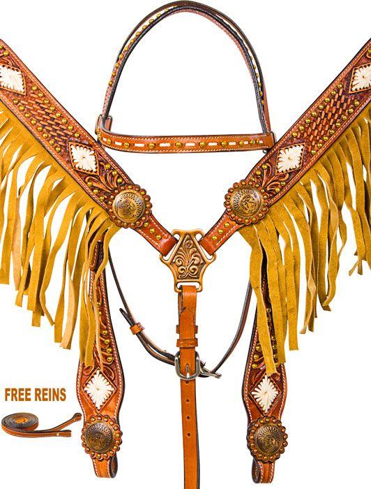 Custom Western Horse Headstall Breast Collar Fringe Tack Set