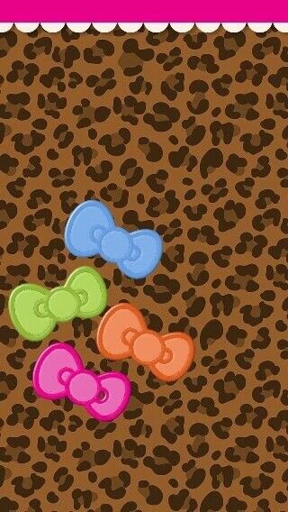 Pastel Bows on Cheetah Background.
