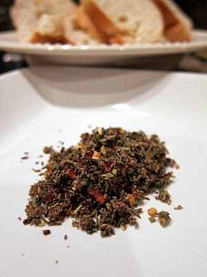 Best Pinterest recipe find EVER!!! Family loves this! Carrabba's Bread Dip  1 Tbsp crushed red pepper flakes  1 Tbsp crushed black pepper   1 Tbsp dried oregano   1 Tbsp dried rosemary   1 Tbsp dried basil   1 Tbsp dried parsley   1 Tbsp minced garlic  2tsp garlicsalt    In a container with a lid, combine all the ingredients together. Store mixture in the refrigerator until needed.    Put 1 Tbsp of mixture per person in a small saucer with raised edges. Pour extra-virgin olive oil over the…