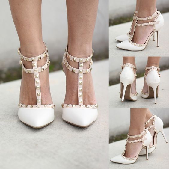 Stone Studded Strappy Heels | To be, Studs and Short dresses