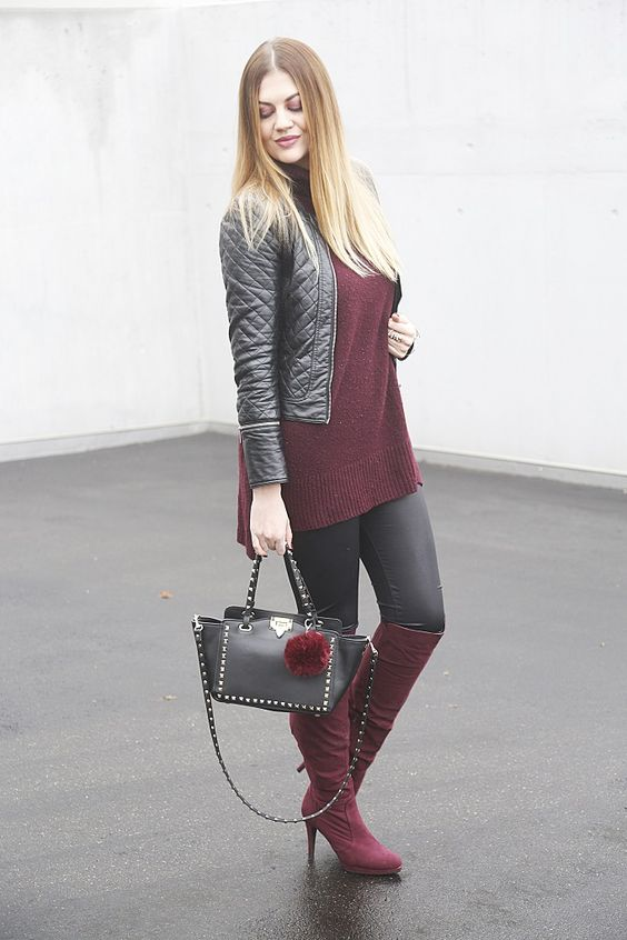 Be inspired by the people in the street! www.streetstylecity.blogspot.com: Burgundy Overknees