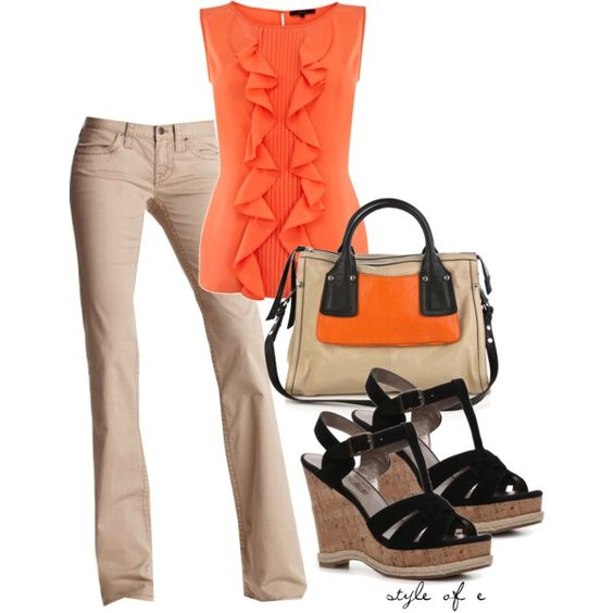 """""""Black and Orange"""" by styleofe on Polyvore"""
