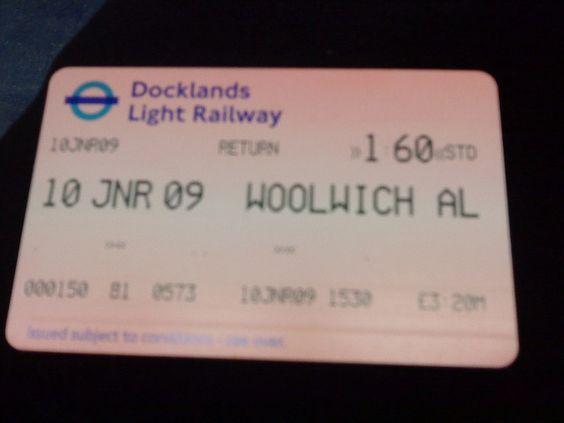 Woolwich Arsenal DLR ticket