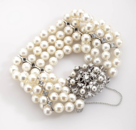 Four Strand Fine Cultured Pearl and Diamond Bracelet