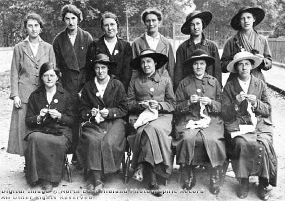 A group of ladies from Darley Abbey knitting clothing etc for soldiers during the First World War.
