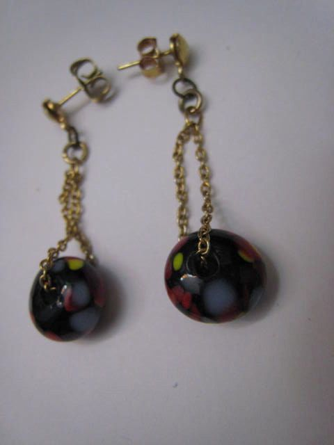Vintage Black Red Italian Art Glass Gold Chain by Glamaroni, $12.00