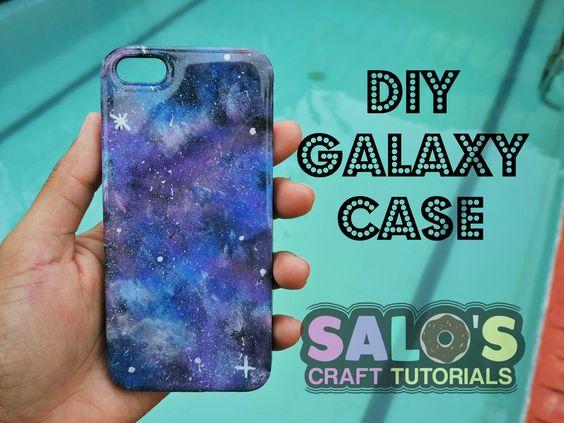 Tutorial: Como hacer una Funda de telefono o carcaza de galaxia / DIY Ga...
