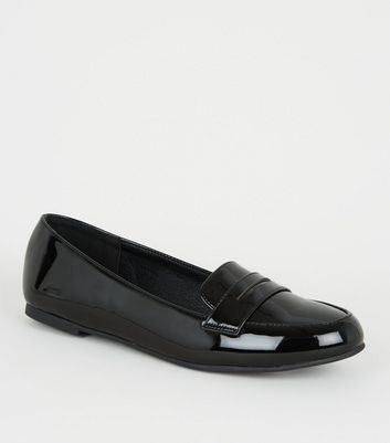 Girls Black Patent Loafers New Look