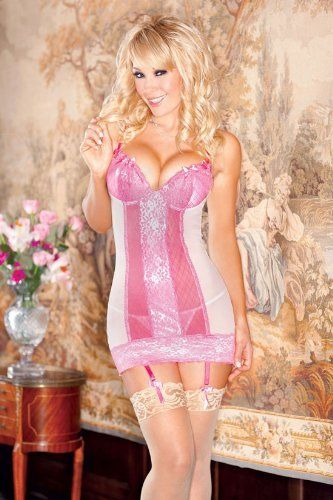 ICOLLECTION LINGERIE 8063 2pc: Sheer mesh chemise with scallop-edged lace over jacquard mesh molded cups, centerfront, and hem detail, removable garters, and matching g-string. iCollection Lingerie. $42.48