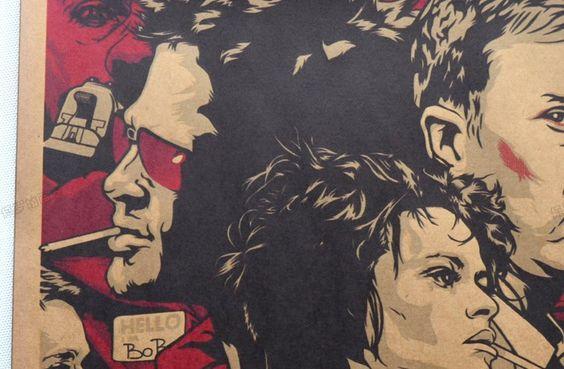 Günstige Fight Club Film Vintage Papier Poster Retro Kunst Wand Dekoration Vintage Poster, Kaufe Qualität Wandaufkleber direkt vom China-Lieferanten: