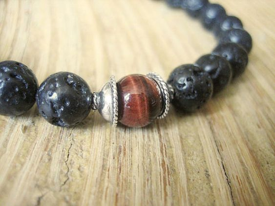 Mens Yoga Bracelet Matte Black Lava Stone and Dragons Eye by MerkabaWarrior