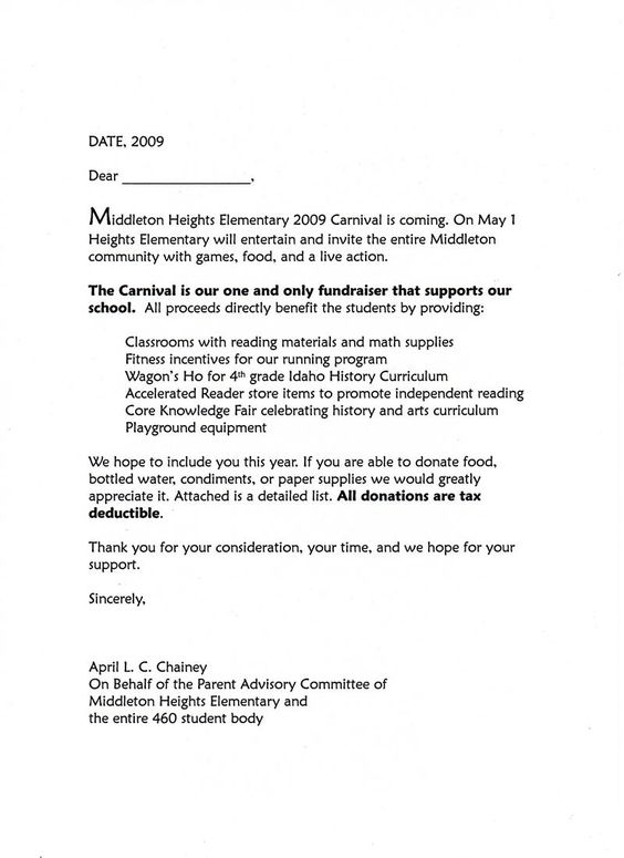 Carnival Donation Request Letter To create Pinterest - donation request letter