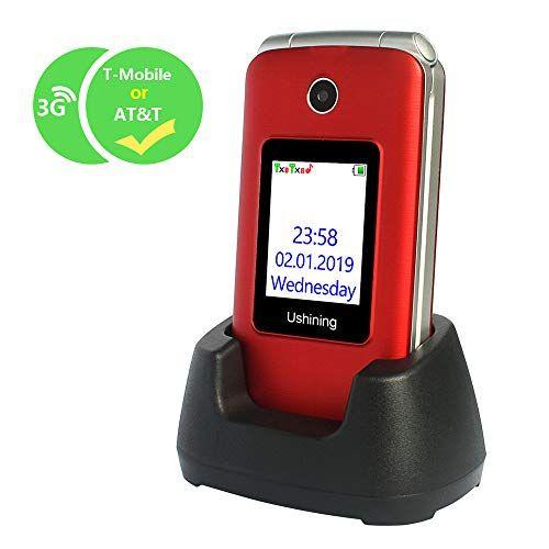 Ushining 3g Unlocked Flip Cell Phone For Senior Kids Easy To Use