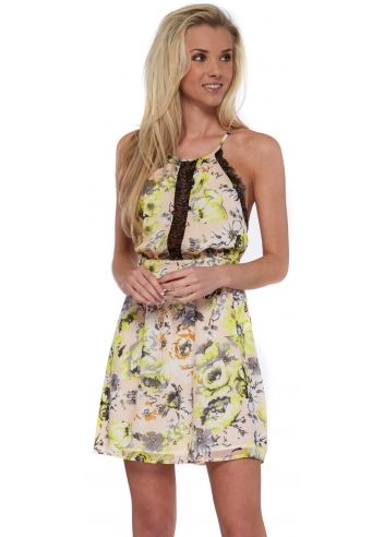 Wyldr Morning Star Yellow Floral Chiffon Open Back Dress With Lace