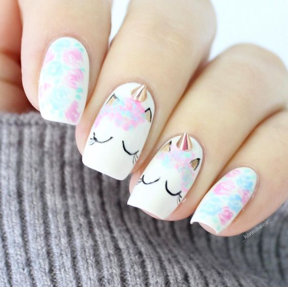 Pretty unicorn nail art design
