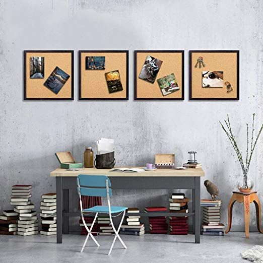 Amazon Com Hblife Cork Board Bulletin Board 12 X 12 Square Wall Tiles Modern Black Framed Corkboard For School Home Of Office Set Home Office Wall Tiles