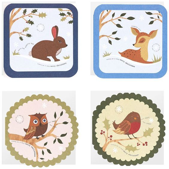 Woodland Friends Cube Christmas Cards, John Lewis
