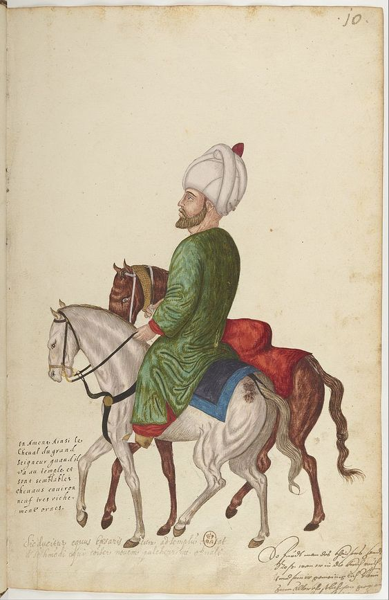 10 - On amène ainsi le cheval du grand seigneur quand il va au temple et sont semblables chevau[x] neuf très richement ornés
