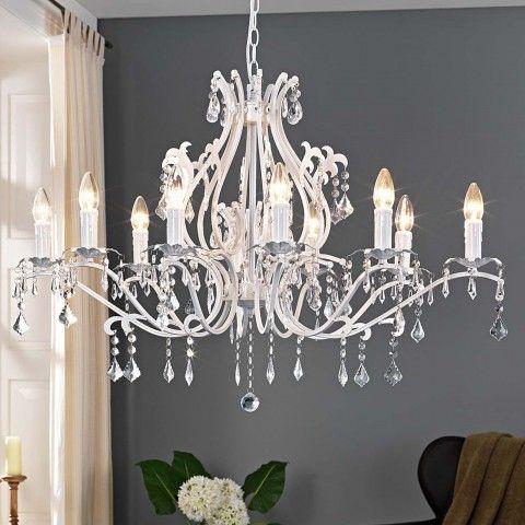 Kronleuchter Weiss Leuchten Wohnzimmer Landhaus Deckenleuchten Landhausstil