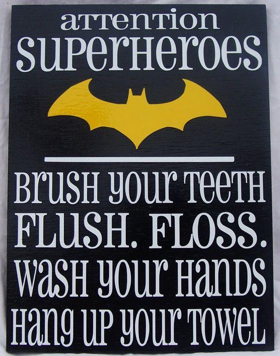 Attention Superheroes (Batman) bathroom rules wood sign #boys Boys bathroom?