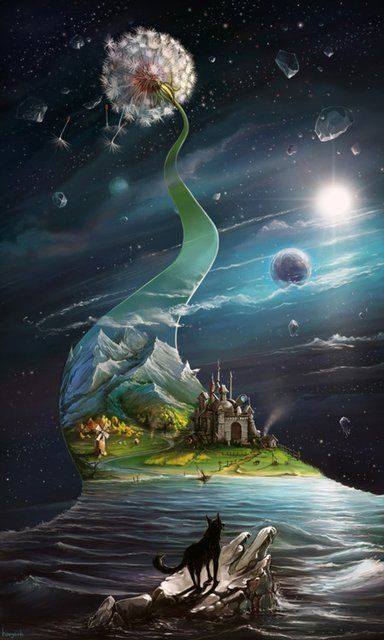 What Dreams May Come [awesome illustration of dandelion puff and fairy tale world and outer space]: