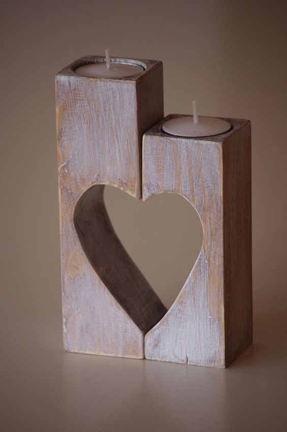 Wooden Candle holder Heart candle holder by WoodMetamorphosisUK