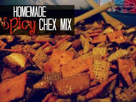 Homemade Spicy Chex Mix- halved the liquid and added a little tabasco!