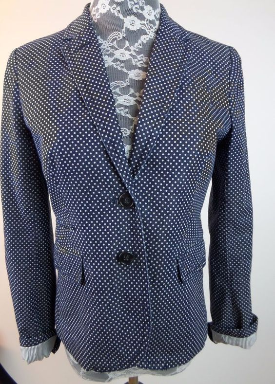 J Crew Women Light Jacket Coat Sz 0 Navy Blue White Polka Dots Blazer Schoolboy #JCrew #BlazerJacket