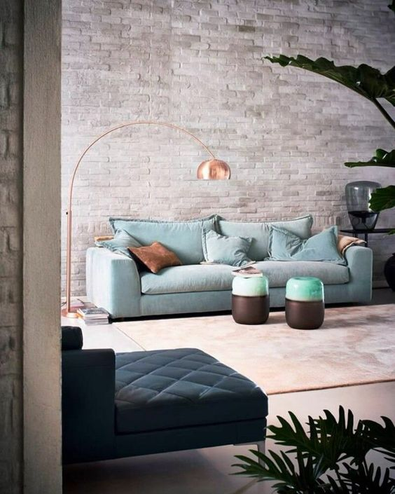 Industrial living room with pastel accents - Scandinavian Interiors