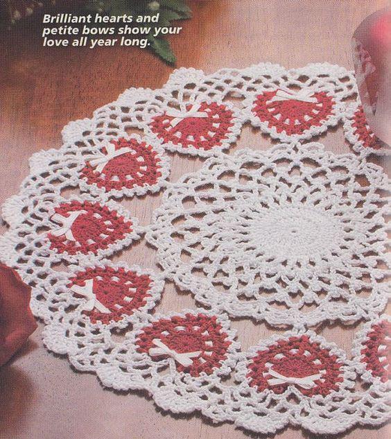Hearts Doily Crochet Pattern - Valentine\'s Day | Crochet | Pinterest ...
