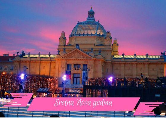 Frohes Neues Jahr 2018 Hier Auf Dem Bild Der Kunstpavillon In Zagreb Mit Eisbahn Zur Adventszeit Kroatien Urlaub Urlaub Buchen Zagreb