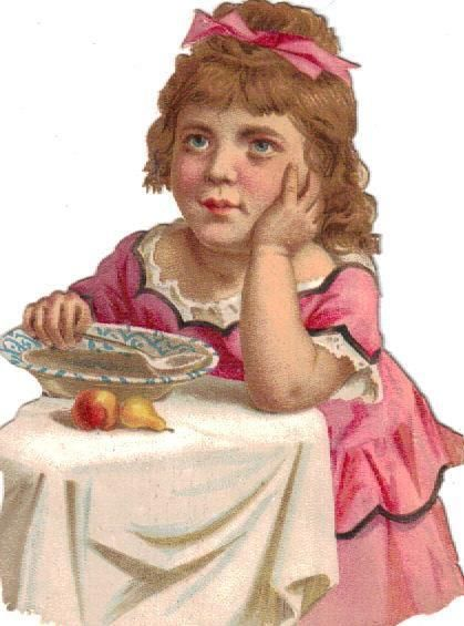 Victorian Die Cut Scrap Little Girl in Pink w Soup c1880: