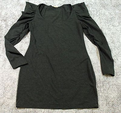 Silence & Noise Ruched Long Sleeve Shirt Womens Tops Size Small Dark Gray