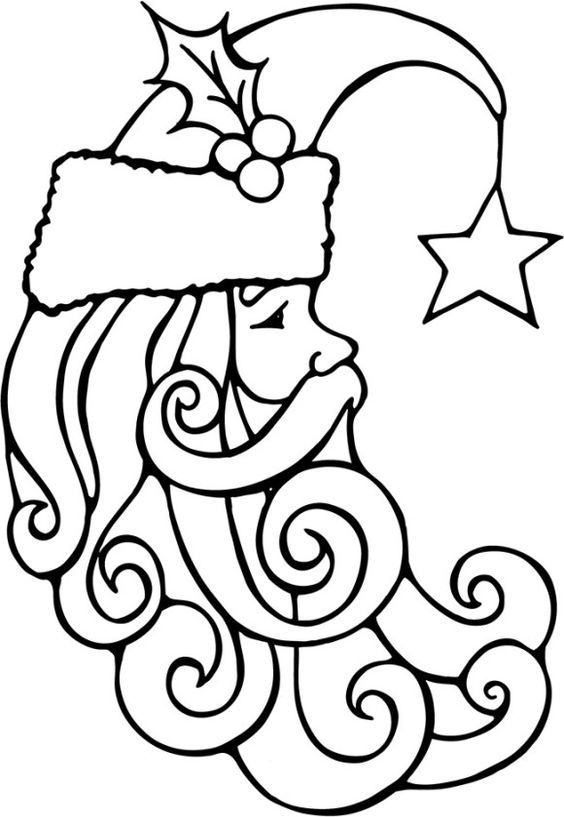 Santa Face Colouring In Santa Free Coloring Christmas Pages