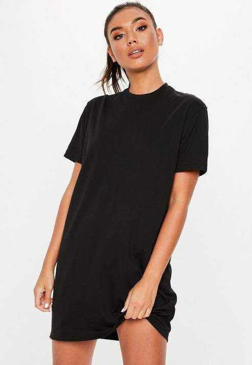 Missguided - Black Basic T Shirt Dress in 2021   T shirt dress ...