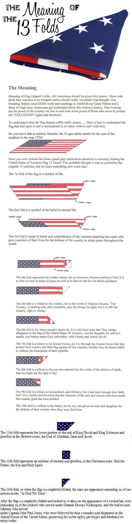 13 folds in the american flag