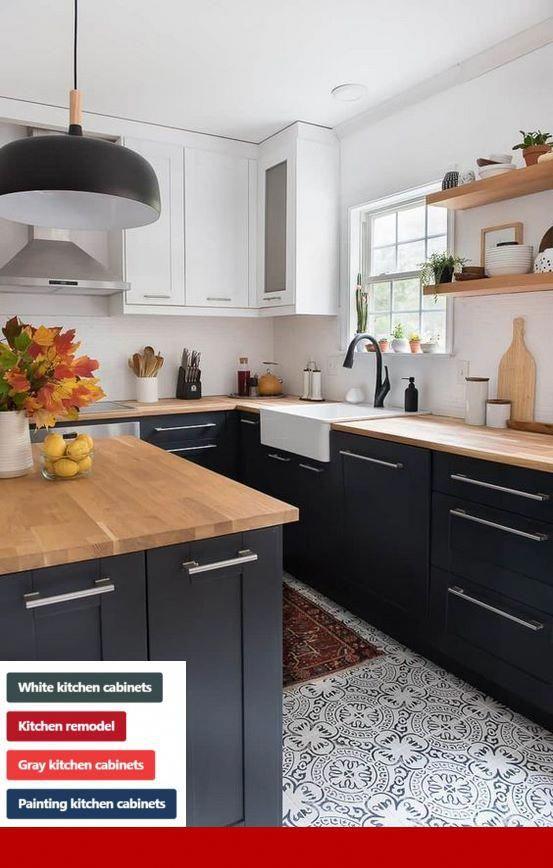 White Kitchen Cabinets Dark Wood Trim Cabinets And Kitcheninterior Kitchen Design Modern Kitchen Home Decor Kitchen