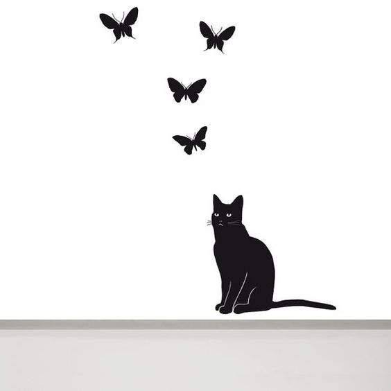 Cat Wall Decal And Butterfly Wall Decal Cat Wall Art Cat - Custom vinyl wall decals cats