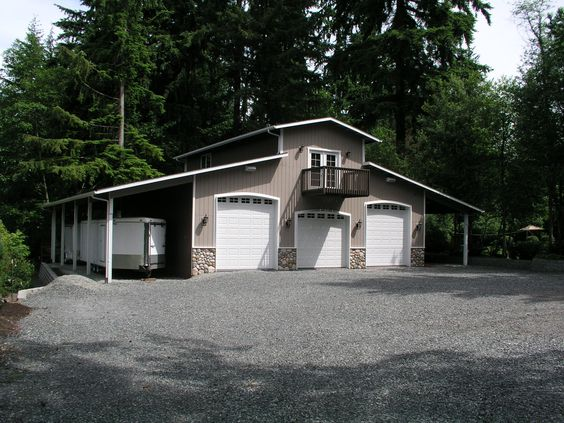 3 car shop plans for rv bay garage with double sided for Garage lean to plans