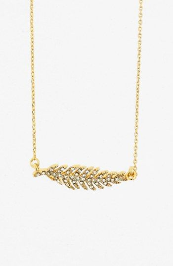 Juicy Couture 'Juicy in Bloom' Pavé Feather Pendant Necklace available at #Nordstrom