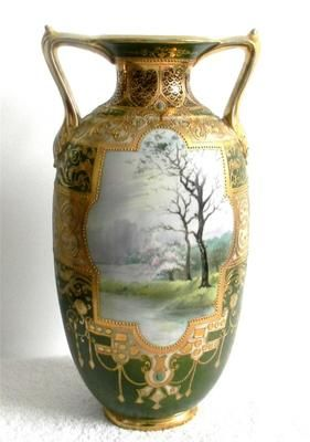 Nippon Vintage Tall Beaded and Hand Painted Vase Gold Designs Free Shipping | eBay
