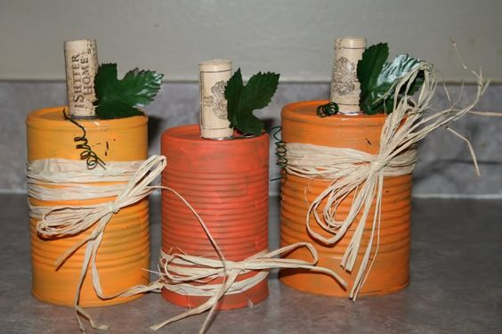 Up-cycled soup can pumpkins