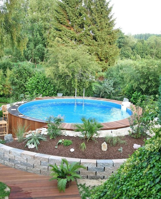 25 Most Creative Diy Swimming Pool Ideas To Try This Summer Recipegood Above Ground Pool Landscaping Diy Swimming Pool Backyard Pool Landscaping