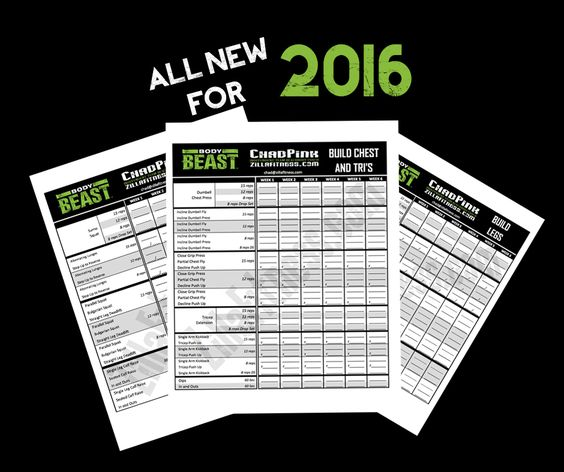 2016 EDITION!  Body Beast workout sheets.  Track your Body Beast weights and reps with these redesigned worksheets.  Includes Total Body, Lucky 7, and the Tempo workouts!