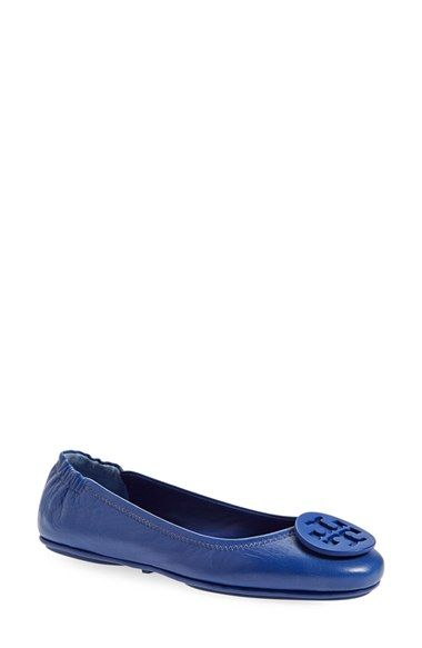Tory Burch 'Minnie' Travel Ballet Flat with Logo (Women) available at #Nordstrom - Black Leather SIZE 8