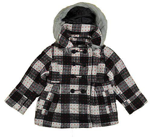 London Fog Little Girls' Faux Wool Jacket, Plaid, 6X. Zip front. Hooded.