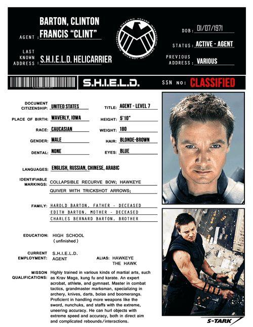 S.H.I.E.L.D. Files:Clint Barton/Hawkeye(requested by rp-er privatehawk)