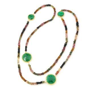 Multi Tourmaline Bead & Green Onyx Strand S/S YGP